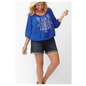 LANE BRYANT Blue Embroidered Peasant Top 22/24